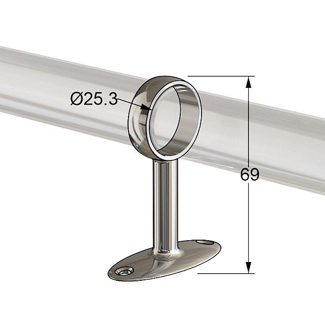 TUBE SUPPORT D.25 CHROME